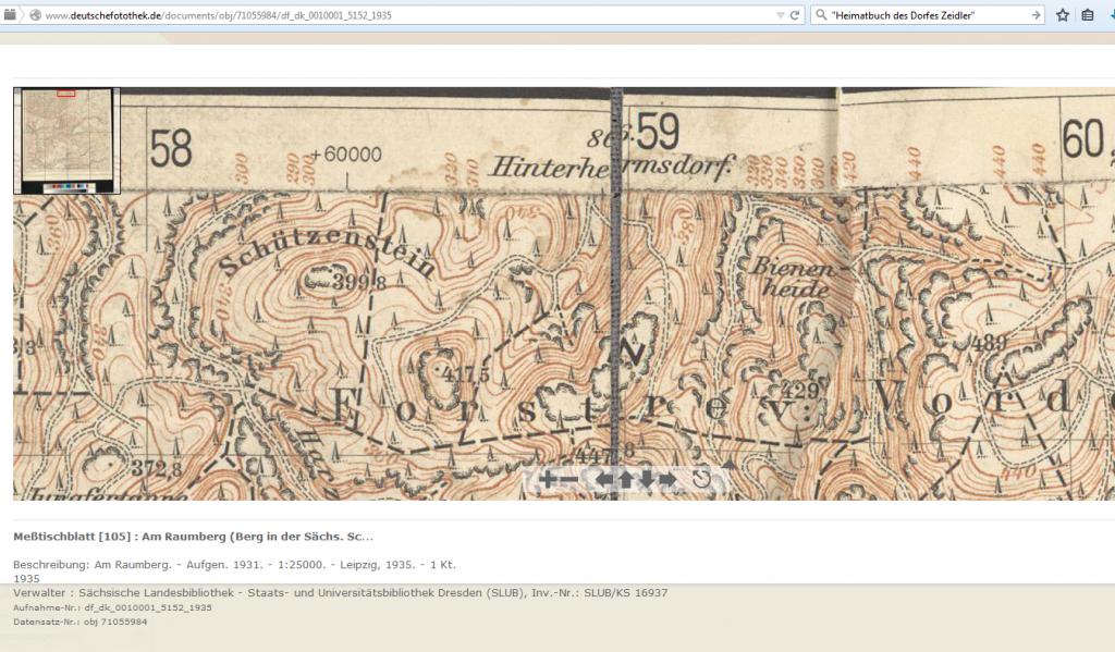 Meßtischblatt [105] : Am Raumberg (Berg in der Sächs. Schweiz), 1935, Deutsche Fotothek